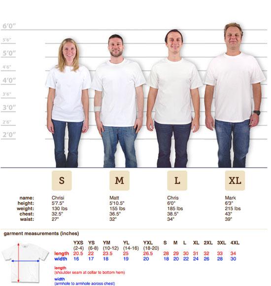 Custom Shirt Sizing Guide Order