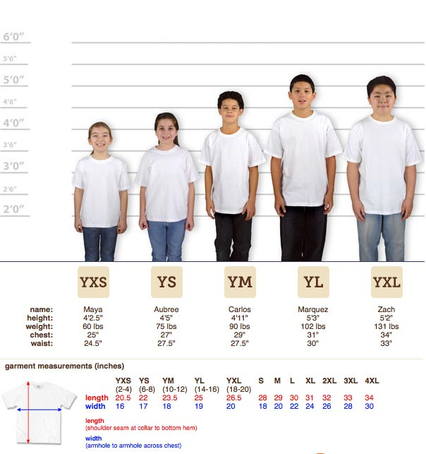 Gildan Youth Sizing