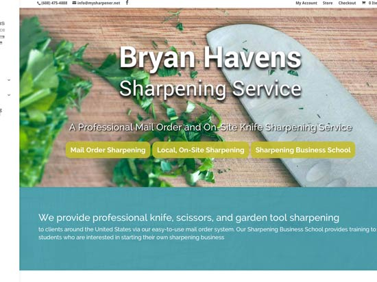 Havens' Sharpening eCommerce Website Design