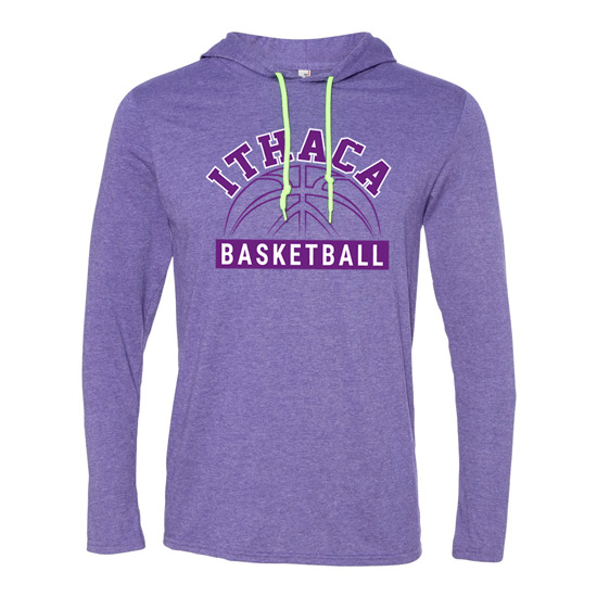 Ithaca b ball long sleeve hooded t shirt iverson designs for Ithaca t shirt printing