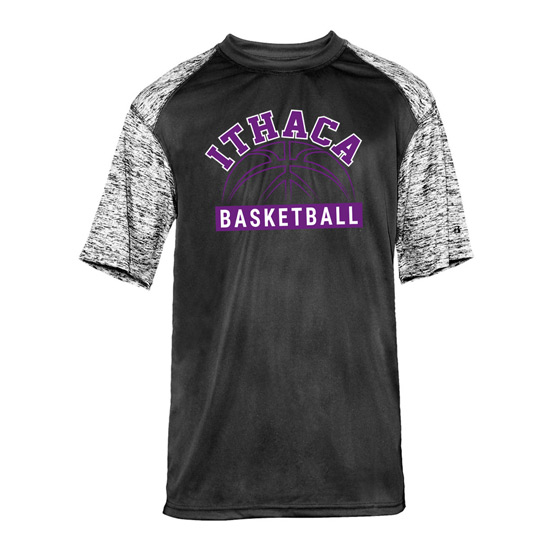 Ithaca b ball badger blended performance short sleeve for Ithaca t shirt printing